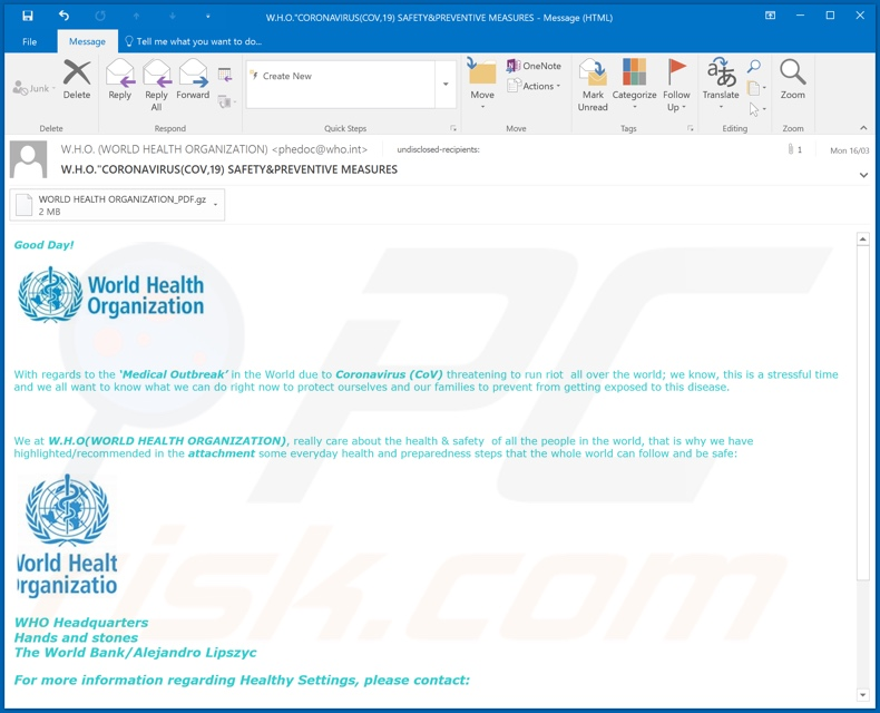 World Health Organization (WHO) e-mail tweede variant