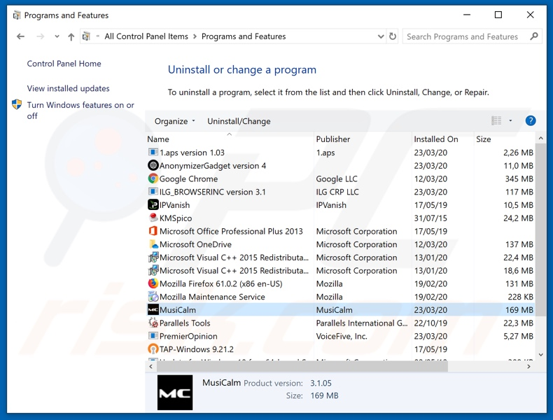 MusiCalm adware uninstall via Control Panel