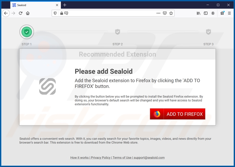 Website used to promote Sealoid browser hijacker (Firefox)