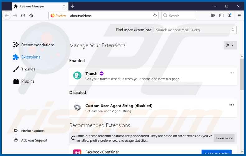 Removing streamsrch.com related Mozilla Firefox extensions