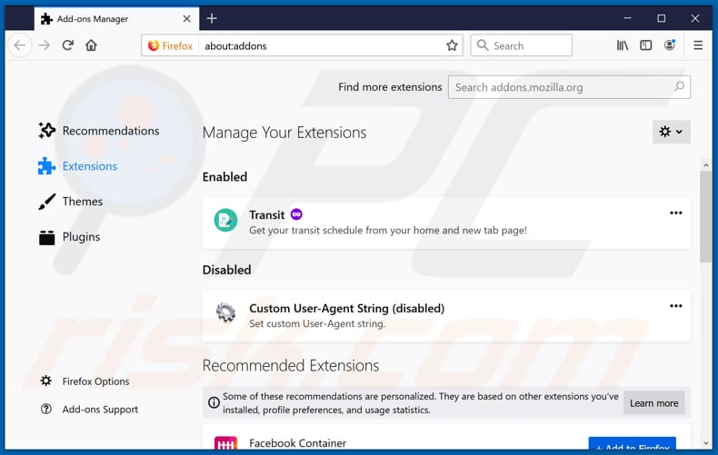 Removing charming-tab.com related Mozilla Firefox extensions