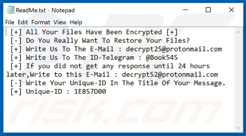 Fob ransomware text file (ReadMe.txt)