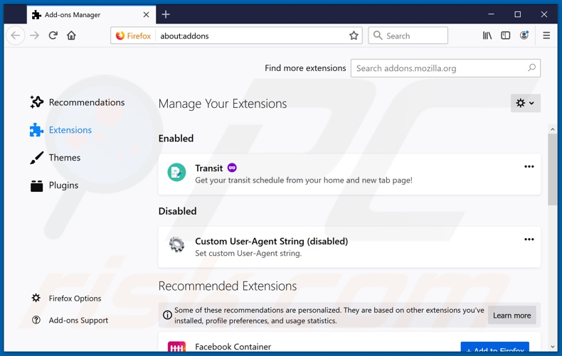 Removing mybrowser-search.com related Mozilla Firefox extensions