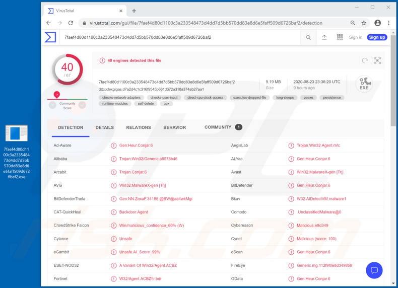 BitRAT malware detections on VirusTotal