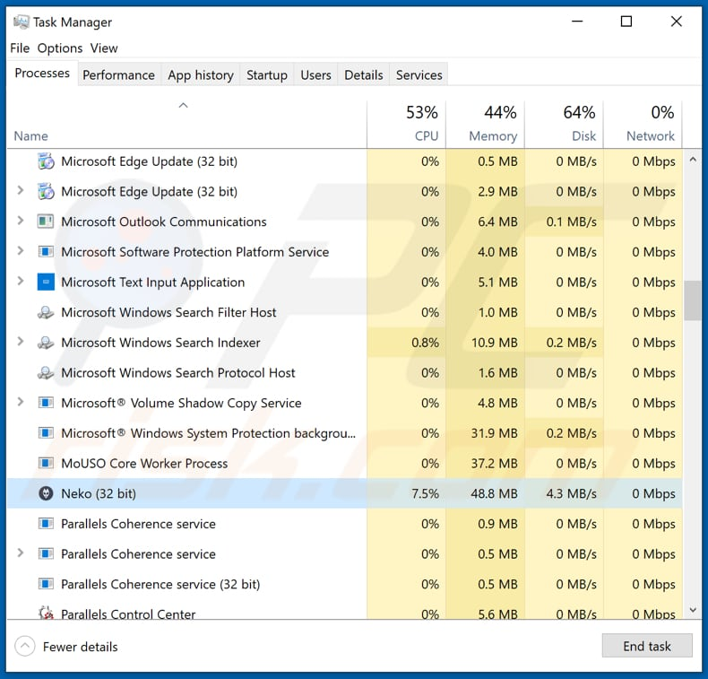 stormkitty stealer running as neko process in task manager