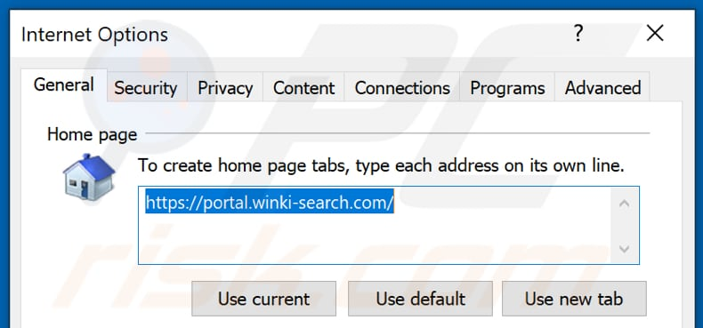 Removing winki-search.com from Internet Explorer homepage