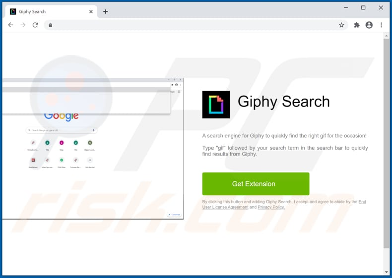 Giphy Search pop-up redirects