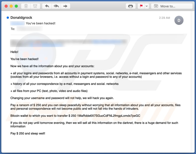 You've Been Hacked! Email Scam email spam campaign