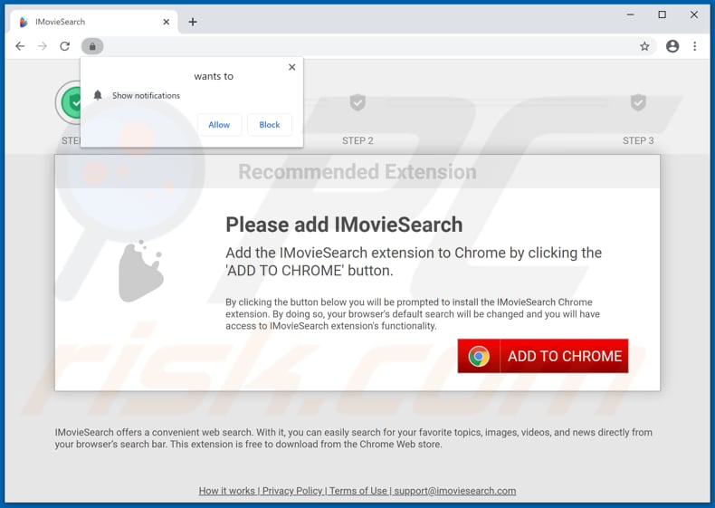Website used to promote IMovieSearch browser hijacker