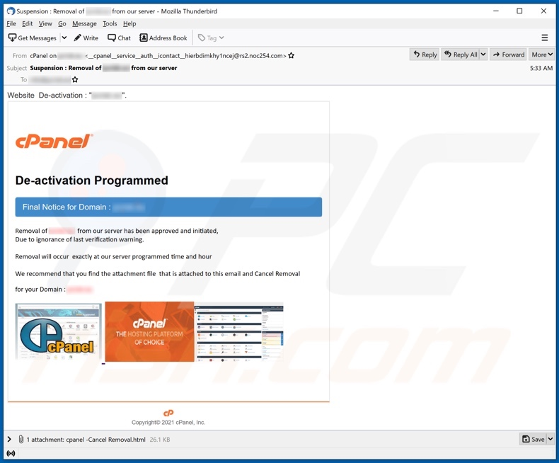 cPanel e-mail-oplichting tweede variant