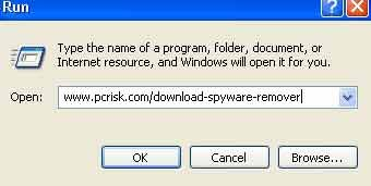 download remover via de uitvoeren dialoog windows xp